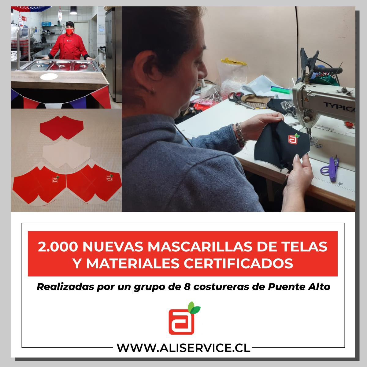¡En nuestra empresa tenemos nuevas mascarillas de material certificado y confeccionadas por 8 costureras de la comuna de Puente Alto!